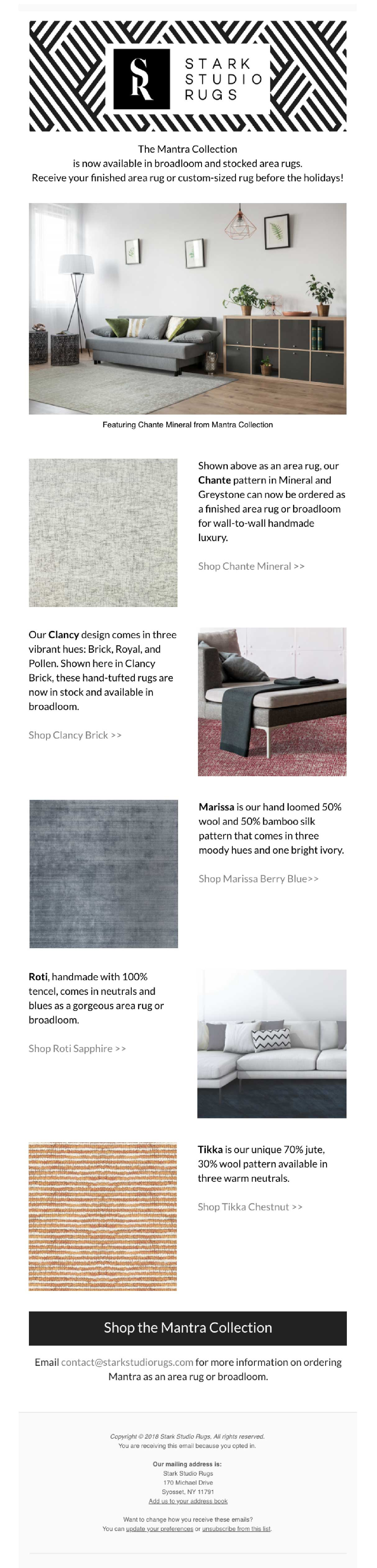 Stark Studio Rugs Post Now in Broadloom or Area Rug: Mantra Collection