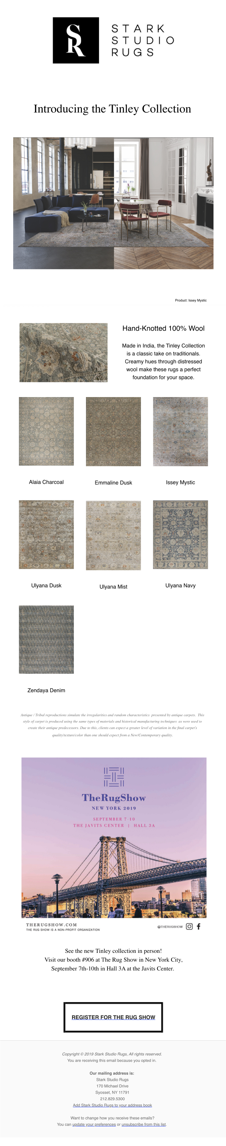 New from Stark Studio Rugs: Tinley Collection