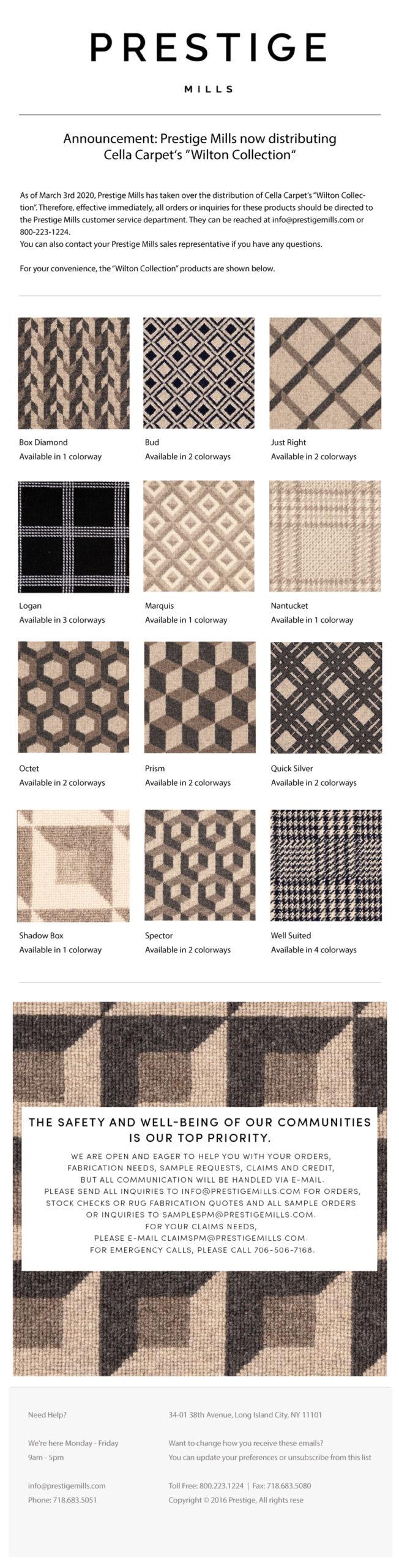 NEW: Prestige Mills - Cella Carpet