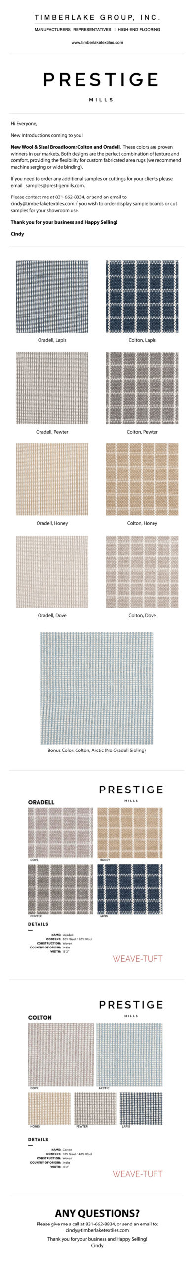 Prestige MIlls- New Wool & Sisal Broadloom; Colton and Oradell