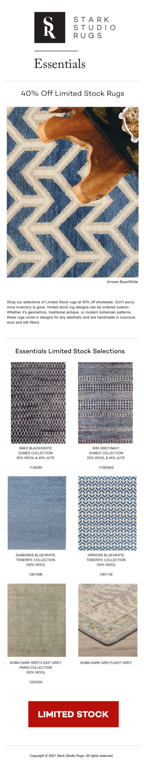 STARK STUDIO RUGS - Before They Go: 40% Limited Stock Essentials Rugs